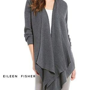 NWT Eileen Fisher Grey Angle Front Wool Cardigan